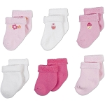 Gerber Baby Terry Socks - Girl 3-6 Months - 6 Pack