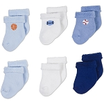 Gerber Baby Terry Socks - Boy 6-9 Months - 6 Pack