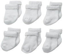 Gerber Unisex 6 Pack Cozy Socks, White - 3-6 Months