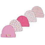 Gerber Baby Caps 5 Pack - 0-6 months - Girl