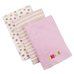 Gerber 2 Ply Knit Burpcloths - Girl - 3 Pack