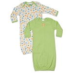 Gerber Baby Lap Shoulder Gown - Neutral 0-6 Months - 2 Pack