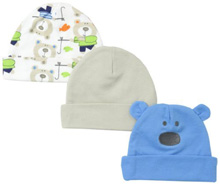 Lamaze Bear Interlock Cap Boy 0-6 Months 3-Pack