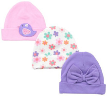 Gerber Flowers Interlock Cap 0-6 Months Girl 3-Pack