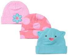 Lamaze Cat Interlock Cap 0-6 Months Girl 3-Pack