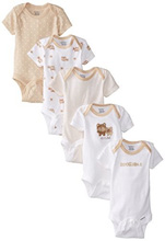 Gerber Unisex Baby Five Pack Variety Bodysuits, Bear - 0-3 Months