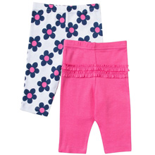 Gerber Baby Girl 2 Pack Pants, Flowers - 0-3 Months