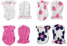 Gerber Baby 4 Pack Mittens, Flowers, 0-3 months