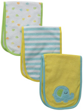 Gerber Baby-Unisex Newborn 3-Pack Terry Burp Cloths, Elephant