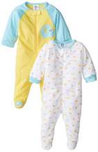 Gerber Baby Zip Front Sleep 'N Play 0-3 months 2-Pack, Elephant