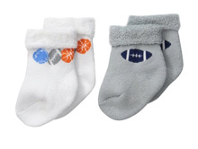Gerber Baby Terry Socks, Sports, 0-6 months - 2 Pack