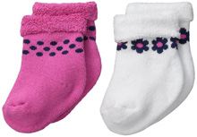 Gerber Baby Terry Socks, Flowers, 0-6 months - 2 Pack