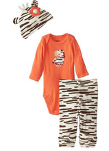 Gerber Baby Girls' Three-Piece Set , Zebra