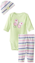 Gerber Baby Girls' Three-Piece Set , Butterfly
