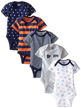 Gerber Baby Boys' Five-Pack Variety Bodysuits, Sports - 0-3 Months