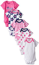 Gerber Baby Girls' Four-Pack Variety Bodysuits, Flowers - 18 Months