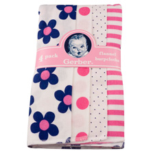 Gerber Baby Girl 4 Pack Flannel Burpcloths, Flowers