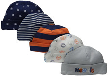 Gerber Baby 5 Pack Caps, Sports - Newborn