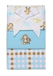 Baby Starters Monkey and Plaid 3-pack Receiving Blanket