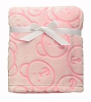 Baby Starters Sculpted Bears Blanket Pink