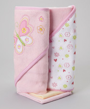 Frederic Lou Spasilk Hooded Towel 2 Washcloths Set-Pink Butterfly