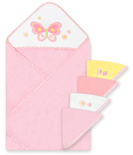 Frederic Lou Spasilk Hooded Towel and 4 Washcloths Set, Pink Butterfly