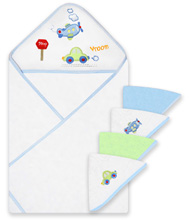 Frederic Lou Spasilk Hooded Towel and 4 Washcloths Set, Blue Plane