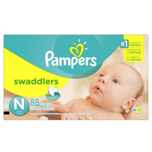 Pampers Swaddlers Diapers, Newborn, 88 Count