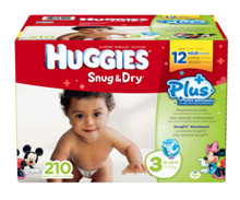 Huggies® Snug & Dry Plus Diapers, Size 3, 210 Count