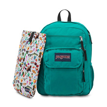 Jansport Digital Student Backpack, Spanish Teal/Multi Stickers