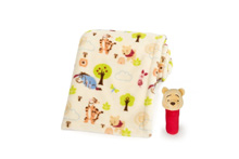 Disney Baby Pooh Printed Boa Blanket With Rattle