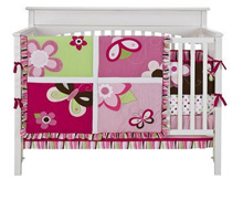 Tiddiliwinks Raspberry Garden 4 Piece Crib Set