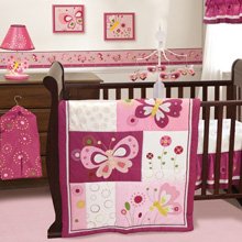 Bedtime Originals Pink Butterfly 3 Piece Bedding Set