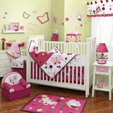 Lambs & Ivy Raspberry Swirl 9 Piece Crib Bedding Set
