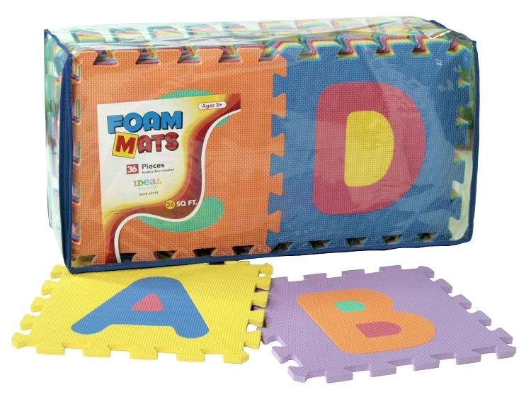 ideal baby kids 36 pc letters numbers foam mat