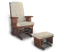 Longwood Glider Rocker and Ottoman in Pecan