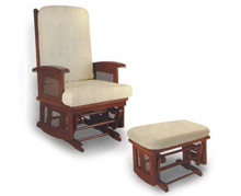 Longwood Glider Rocker and Ottoman Pecan