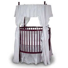 Angle Line Round Crib in Cherry with Eyelet Bedding Set