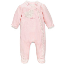 Little Me Lace Heart Velour Footie 3-9M Girl