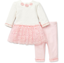Little Me Lavish Lace Dress & Leggings, 3-9 Months