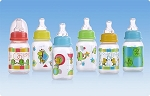Nuby Printed Non-Drip Bottle, Standard Neck, 4 oz, 3 Pk