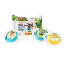 Luv n Care Nuby Comfort Pacifier 6-12 Months 3-Pack and Teether Wipes