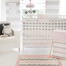 My Baby Sam Chevron Baby in Pink 3pc Crib Set