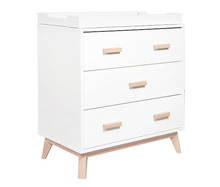 Babyletto Scoot 3 Drawer Dresser, White with Washed Natural