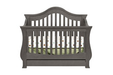 Million Dollar Baby Classic Ashbury 4 in 1 Crib with Toddler Rail, Manor Gray
