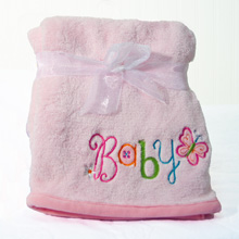 "Nurture Imagination My ABC ""Baby"" Applique Blanket Pink"