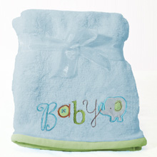 "Nurture Imagination My ABC  ""Baby"" Applique Blanket Blue"