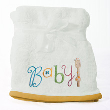 "Nurture Imagination My ABC ""Baby"" Applique Blanket White"