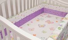 Nurture Imagination Butterfly Garden Lilac Cut Dot Crib Bumper