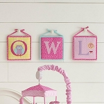 Laura Ashley Owlphabet 3-Pc Wall Hanging Pink